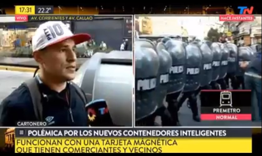 [VIDEO] CARTONERO INSULTA A MACRI EN VIVO POR TN