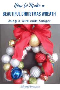 Christmas Ball Wreath with text overlay How to Make a Beautiful Christmas Ball Wreath Using a wire coat hanger
