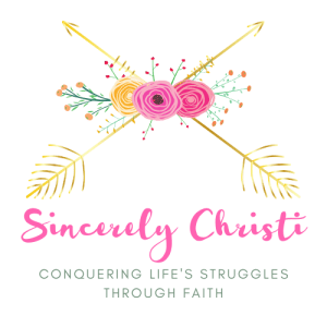 golden arrows with pink flowers text Sincerely Christi Conquering Life's Struggles Through Faith