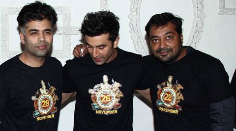 मुंबई में हुई रैप अप पार्टी के दौरान करण, रणबीर और अनुराग।