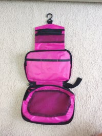 Pink toiletry bag.