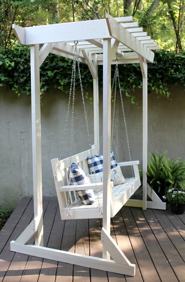 Diy porch swing pergola sincerely marie designs for Build porch swing plans