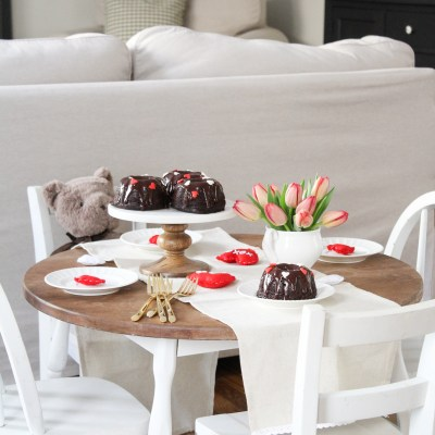 Kids Valentine's Day Table with Mini Chocolate Bundt Cakes