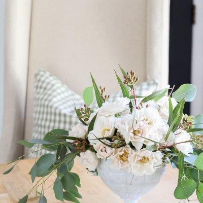 An Elegant Garden Rose & Eucalyptus Arrangement