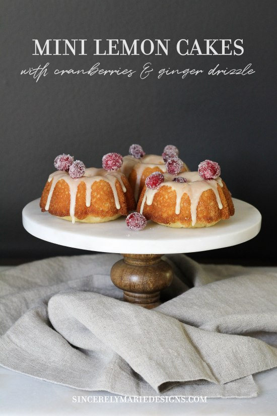 Mini Lemon Cakes with Sugared Cranberries