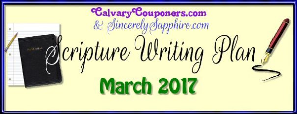 Scripture Writing Plan for March 2017