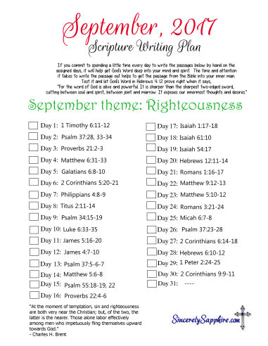 Scripture Writing Plan for September 2017