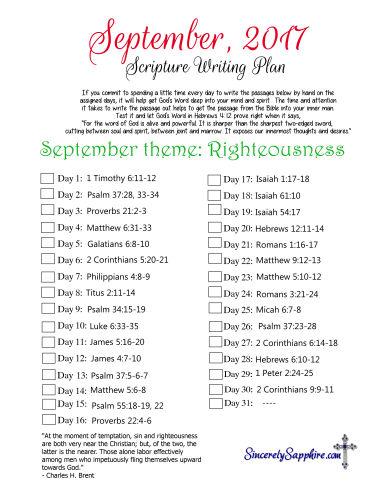 September 2017 Scripture Writing Plan