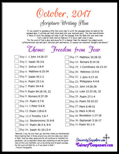 Scripture Writing Plan for October, 2017