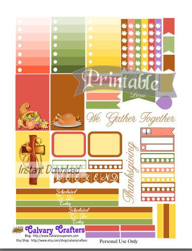 Thanksgiving planner stickers