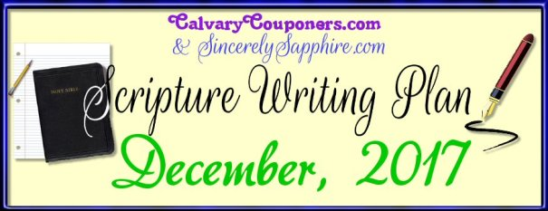 Scripture Writing Plan for December 2017