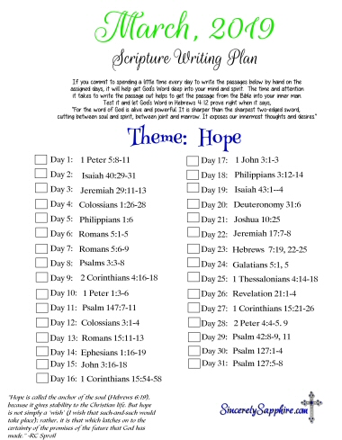 Scripture Writing Plan for March 2019