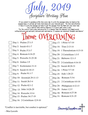 July 2019 Scripture Writing Plan -Overcoming