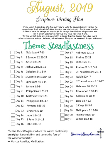 August 2019 Scripture Writing Plan -Steadfastness