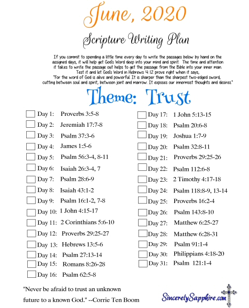 June 2020 Scripture Writing Plan