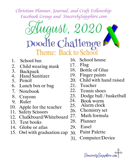 Doodle Challenge for August 2020 -Back to School