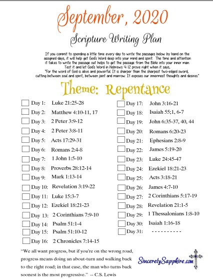 September 2020 Scripture Writing Plan -Repentance