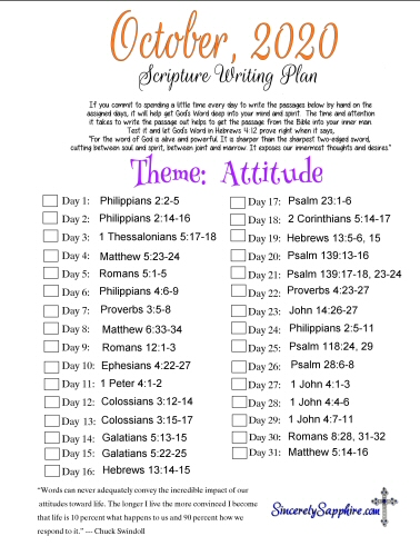 October 2020 Scripture Writing Plan -Attitude