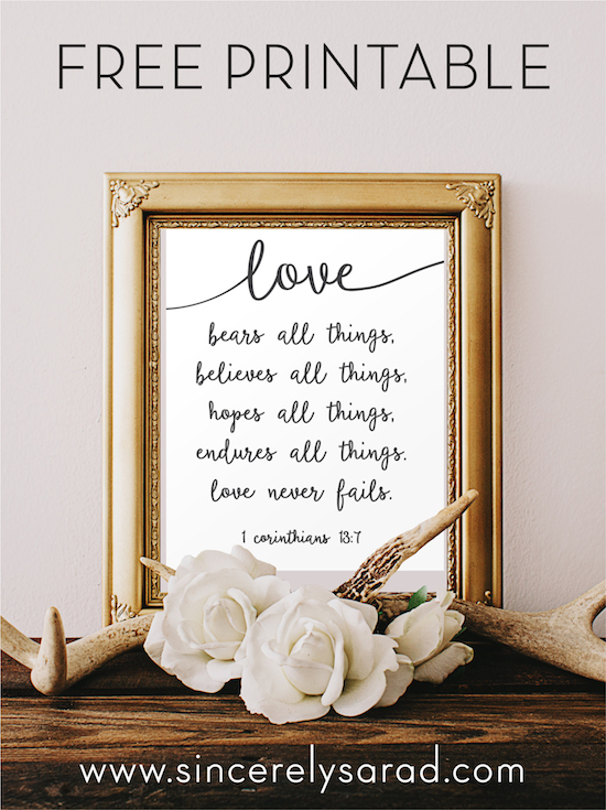 Love Never Fails - Free Printable!