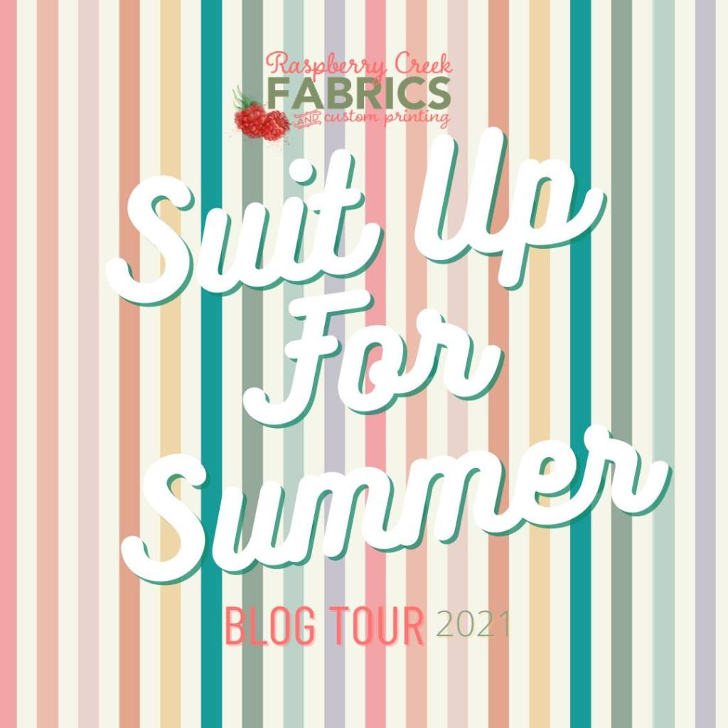 """pastel vertical stripes with text """"Raspberry Creek Fabrics suit up for summer Blog Tour 2021"""""""