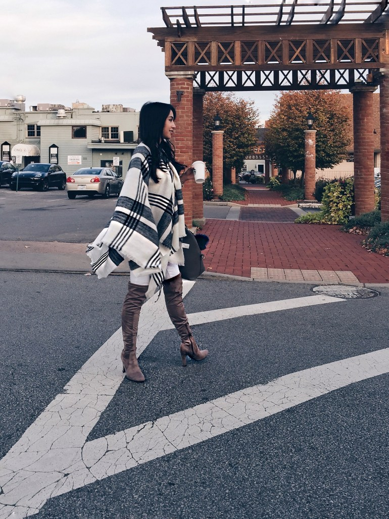 Thanksgiving plaid poncho, over-the-knee boots, chic diaper bag