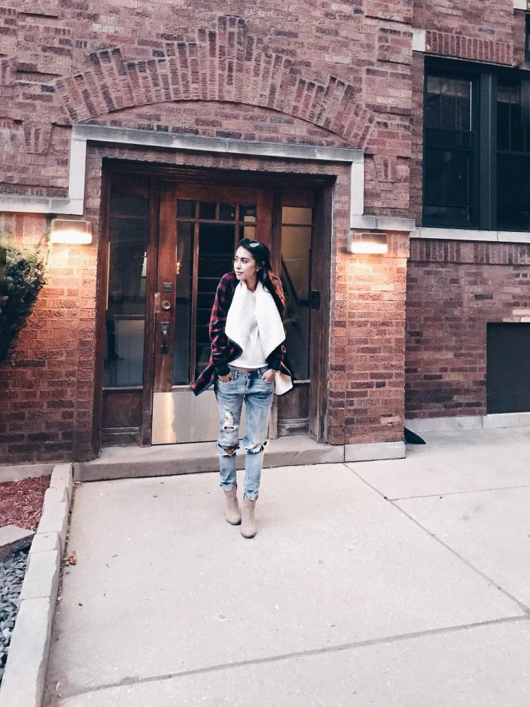 boyfriend jeans, plaid jacket, ankle boots