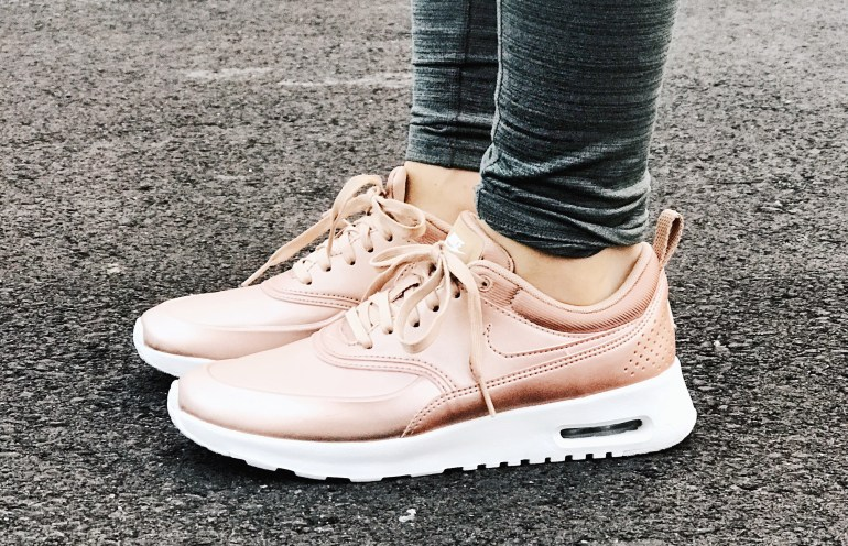 Close up of Women's Nike Air Max's in Rose Gold