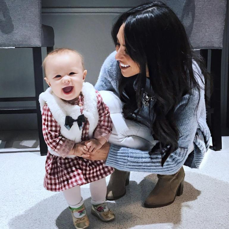 wardrobe essential ankle boots with denim, sweater, baby, checkered dress