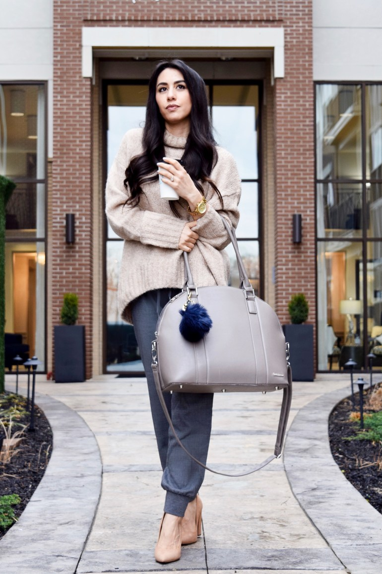 Oversized sweater in camel, gray jogger slacks, suede block heels in nude, taupe bag, gold watch