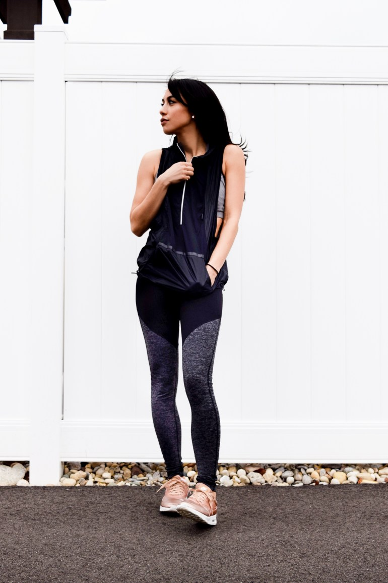 under armour hooded vest, colorblock leggings, rose gold nikes
