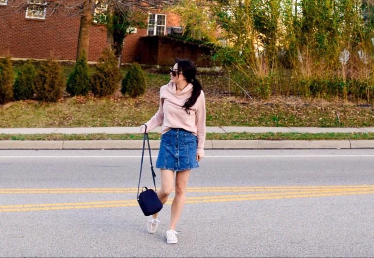 blush hoodie, button-down blue denim skirt, canvas sneakers, tommy hilfiger bag