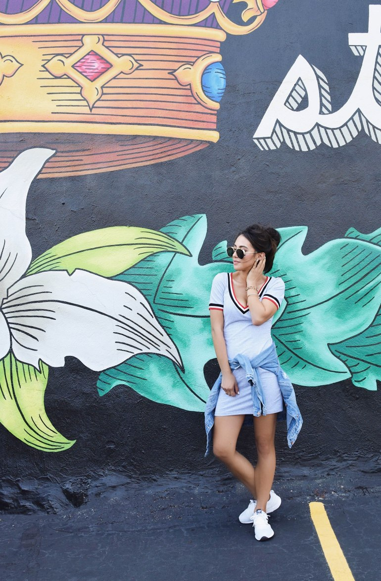 Shein casual Tee Dress fashion Blogger style denim trucker jacket new balance sneakers aviators mural sincerely styled brittany seiden