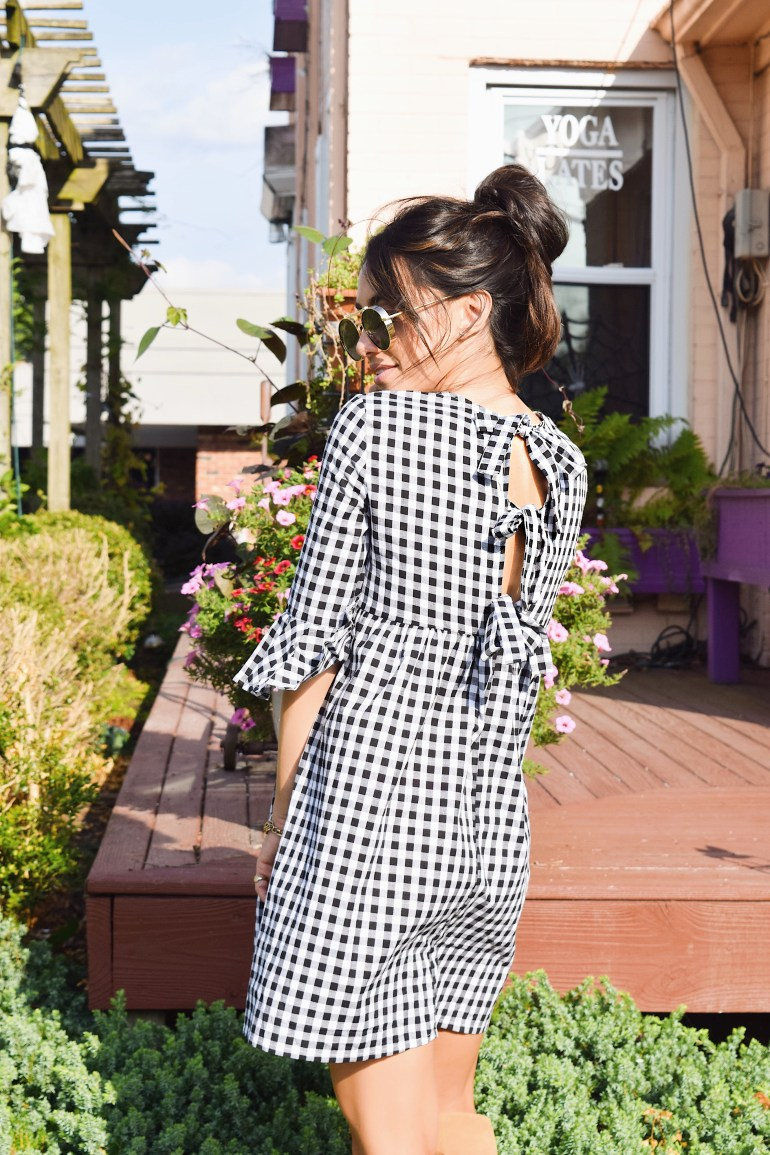 Sincerely-StyledBow-tie-open-back-gingham-dress-fluted-sleeves-brittany-seiden