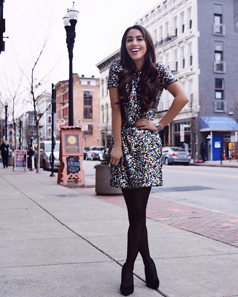brittany seiden sincerely styled dress the population nye dress sparkle confetti blogger
