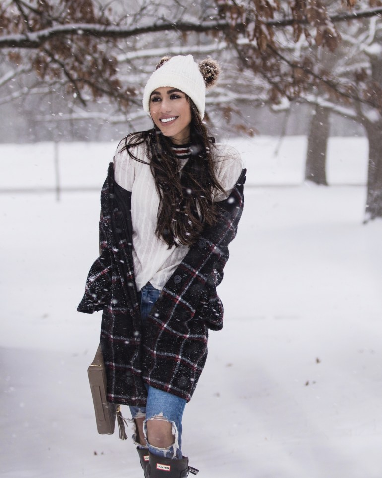 Brittany-Seiden-sincerely-styled-plaid-winter-coat-beanie-hunter-boots