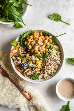 Veggie Grain Bowls with Crispy Parm Roasted Chickpeas & Aji Ranch-6