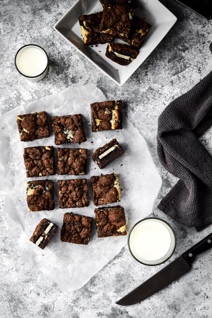 vegan brownie cookie cheesecake bars