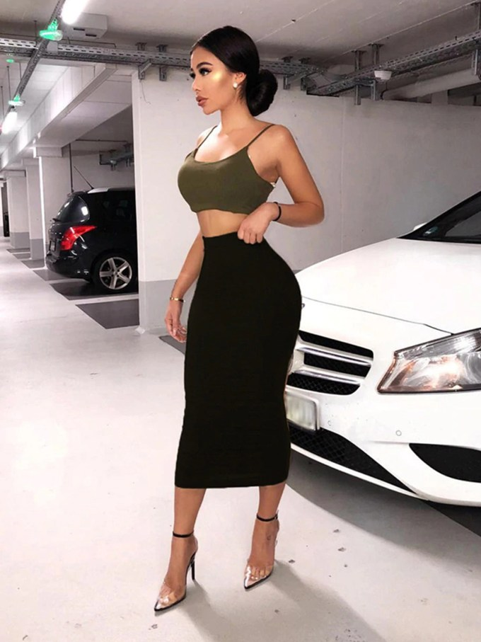 Heather Bodycon Fitted Midi Skirt 10
