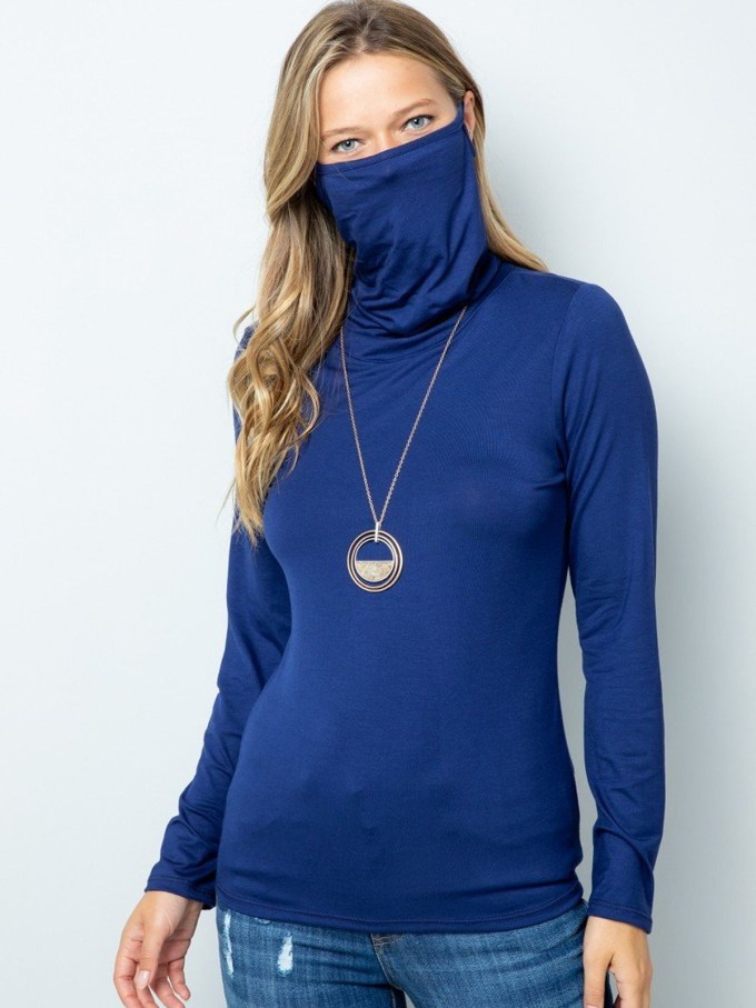Turtle Neck Face Mask - Navy 1