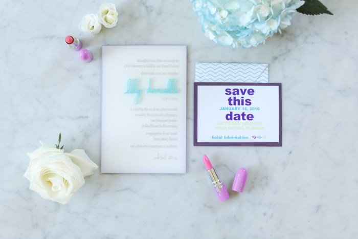 Colorful Acrylic Mitzvah Invitation