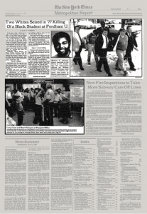 Two whites seized in '77 killing of a black student at Fordham U.