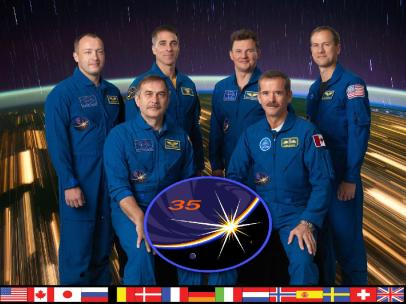 Pictured on the front row are Expedition 35 Commander Chris Hadfield (right) and Flight Engineer Pavel Vinogradov. On the back row, from left, are Flight Engineers Alexander Misurkin, Chris Cassidy, Roman Romanenko and Tom Marshburn. Photo credit: NASA