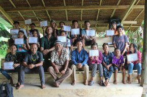 Group photo showing their new certificates before the start of the party. (credits: Rob Henry).