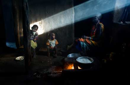 The Masai home is typically made of mudbricks and with a few and small windows, the smoke from firewood creates the streaming of sunlight into a dark home.