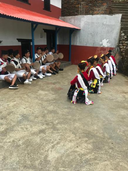 Dancers performing Kaura- A traditional Magar Dance in Central part of Nepal where girls dance and boys sing