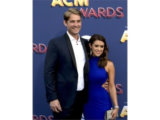 Brett Young walks the ACM red carpet with his fiance Taylor Mills
