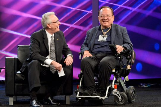 ANAHEIM, CALIFORNIA - JANUARY 16: Joe Lamond, President and CEO of NAMM and Noel Lee speak onstage at The 2020 NAMM Show Opening Day on January 16, 2020 in Anaheim, California. (Photo by Jerod Harris/Getty Images for NAMM)