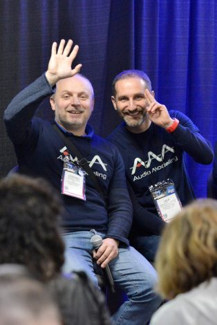 ANAHEIM, CALIFORNIA - JANUARY 16: Stefano Lucato and Emanuele Parravicini, attend The 2020 NAMM Show Opening Day on January 16, 2020 in Anaheim, California. (Photo by Jerod Harris/Getty Images for NAMM)