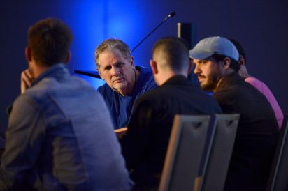 ANAHEIM, CALIFORNIA - JANUARY 17: Dave Pensado (C) speaks onstage at The 2020 NAMM Show on January 17, 2020 in Anaheim, California. (Photo by Jerod Harris/Getty Images for NAMM)