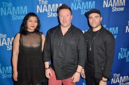 ANAHEIM, CALIFORNIA - JANUARY 18: Koi Anunta, Jeff Gunn and Mike Sleath attend The 2020 NAMM Show on January 18, 2020 in Anaheim, California. (Photo by Jerod Harris/Getty Images for NAMM)